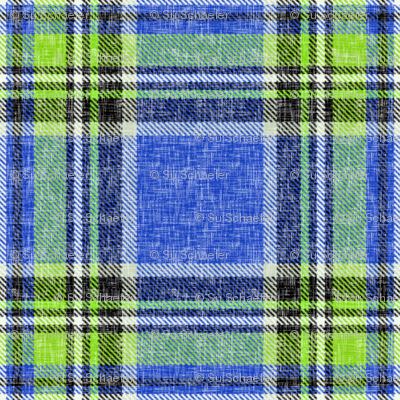 Summer Stewart plaid in blue & lime, linen-weave by Su_G
