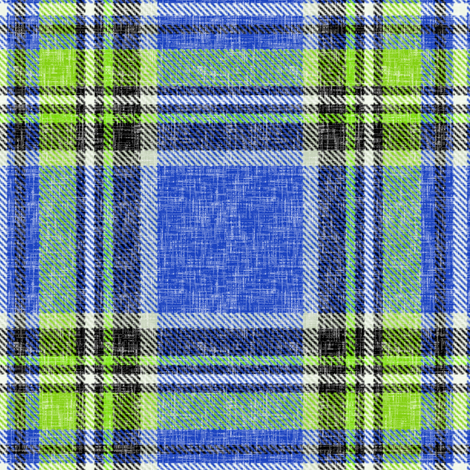 Summer Stewart plaid in blue & lime, linen-weave by Su_G fabric by su_g on Spoonflower - custom fabric