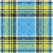 Sun + Sky Stewart plaid in blue + yellow, linen-weave by Su_G