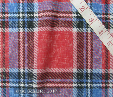 Patriotic Stewart plaid in red + blue, linen-weave by Su_G