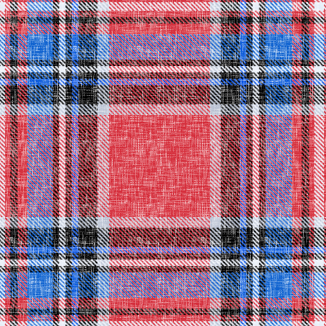 Patriotic Stewart plaid in red + blue, linen-weave by Su_G fabric by su_g on Spoonflower - custom fabric