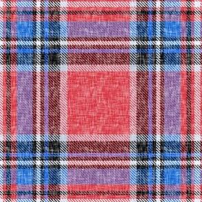 Patriotic Stewart plaid in red + blue, linen-weave by Su_G