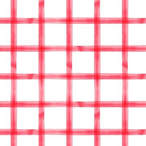watercolor window pane  plaid || rose red