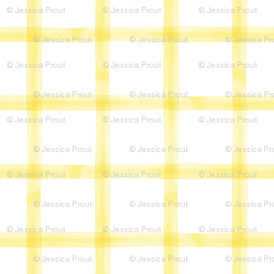 watercolor window pane plaid || yellow