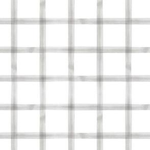 watercolor window pane plaid || grey