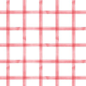 watercolor window pane plaid || calypso coral