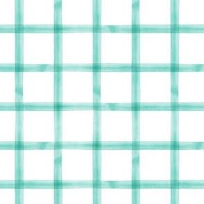 watercolor window pane plaid || teal