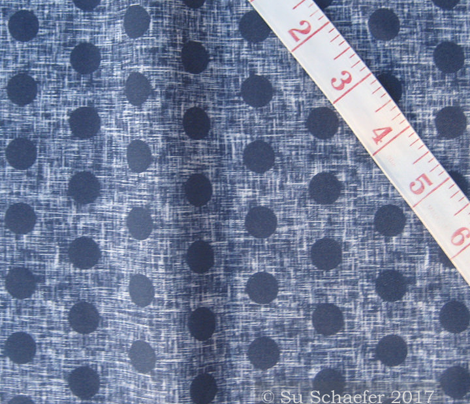 Small spaced navy polka dots on navy + white linen weave by Su_G