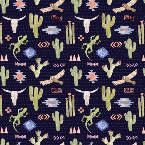 Desert Animals at Night fabric by azygosdesign on Spoonflower - custom fabric