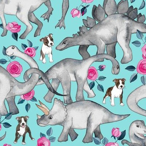 Boston Terriers, Dinosaurs and Roses - turquoise