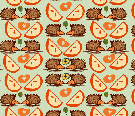 Hedgehogs and Apples. fabric by slumbermonkey on Spoonflower - custom fabric