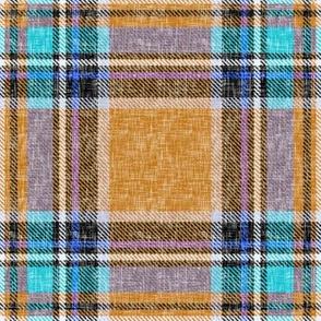 Ocher + aqua cheerful Stewart plaid linen-weave by Su_G