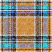 Ocher + aqua cheerful Stewart plaid linen-weave by Su_G
