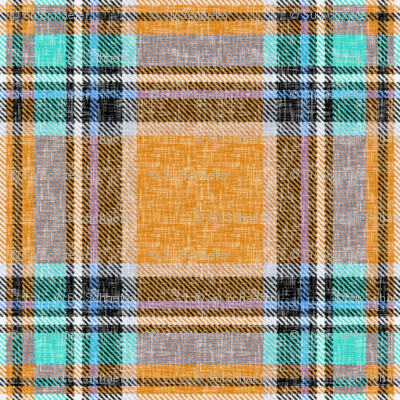 Orange + turquoise Stewart plaid linen-weave by Su_G