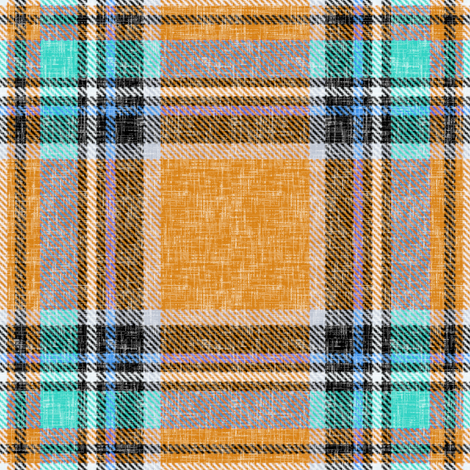 Orange + turquoise Stewart plaid linen-weave by Su_G fabric by su_g on Spoonflower - custom fabric