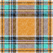 Stewart plaid in orange + turquoise, linen-weave by Su_G