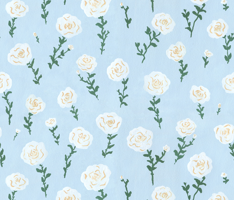 White Roses fabric by mayabeeillustrations on Spoonflower - custom fabric