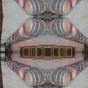 patio of wine barrels