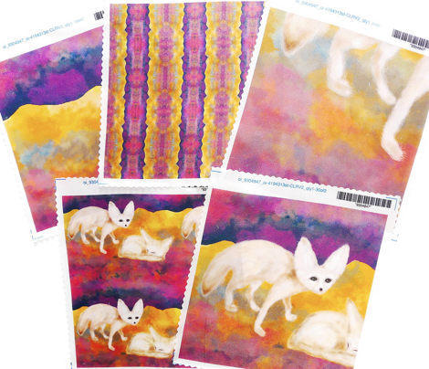 FAT QUARTER DESIGN SAND FOXES IN THE DESERT NIGHT SAHARA FENNEC XL