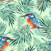 Palm leaves and kingfisher