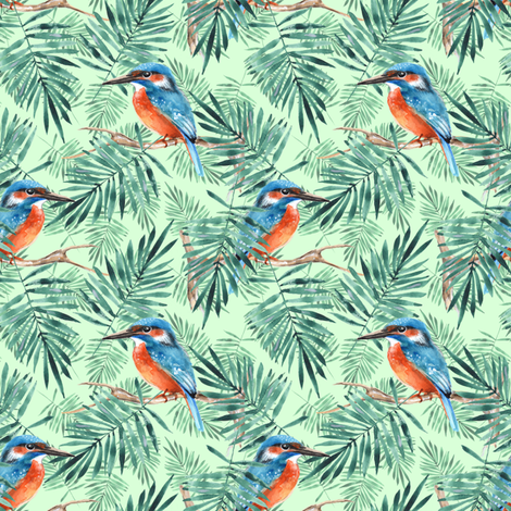 Palm leaves and kingfisher fabric by gribanessa on Spoonflower - custom fabric