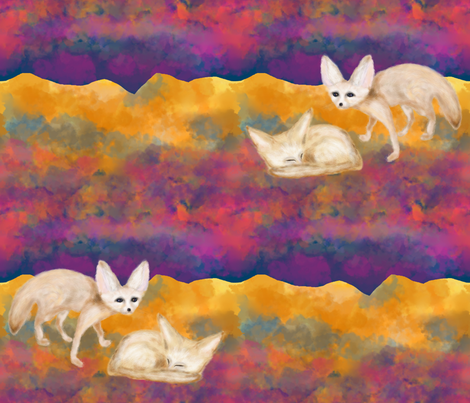 SAND FOXES IN THE DESERT AT NIGHT SAHARA FENNEC fabric by paysmage on Spoonflower - custom fabric