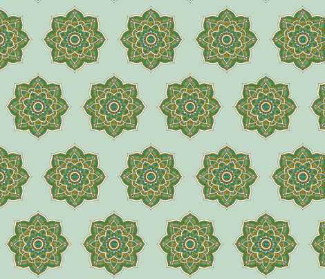 Soul Love Mandalas Green Large fabric by prydverk on Spoonflower - custom fabric