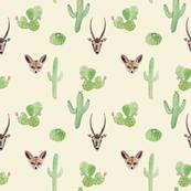 Desert watercolor animals and cactus