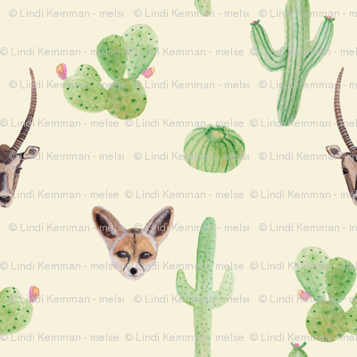 Desert animals // watercolor cactus fox