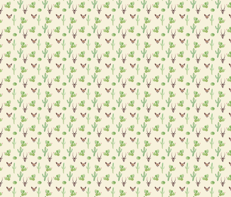 Desert animals // watercolor cactus fox  fabric by lindi_melse on Spoonflower - custom fabric