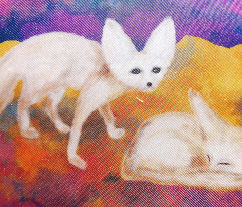 PAINTED SAND FOX DESERT AT NIGHT FENNEC small