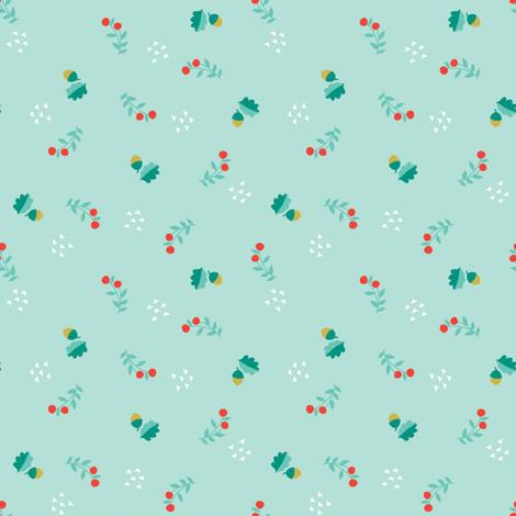 ACORNS + BERRIES AQUA fabric by minkypnoo on Spoonflower - custom fabric