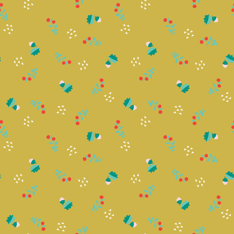 ACORNS + BERRIES GOLD fabric by minkypnoo on Spoonflower - custom fabric