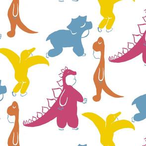 Kids Wearing Dino Costumes.