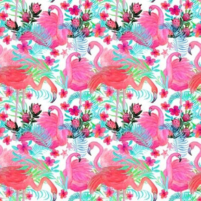 Watercolor flamingo palm and floral garden / tropical paradise