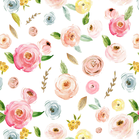 Blush Pinks & Pastels Floral fabric by hudsondesigncompany on Spoonflower - custom fabric