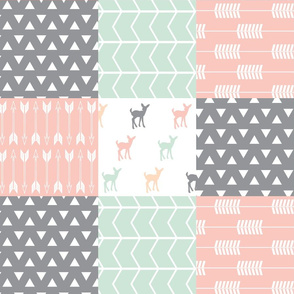 Woodland patchwork quilt top  || pink, grey,mint