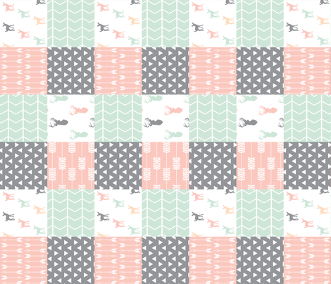 Woodland patchwork quilt top (90) || pink, grey,mint fabric by littlearrowdesign on Spoonflower - custom fabric