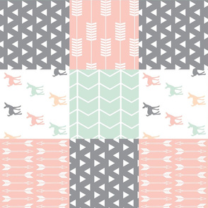 Woodland patchwork quilt top (90) || pink, grey,mint