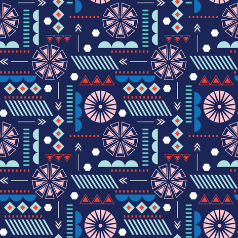 GEOMETRIC NAVY fabric by minkypnoo on Spoonflower - custom fabric