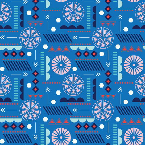 GEO CIRCLES BLUE fabric by minkypnoo on Spoonflower - custom fabric