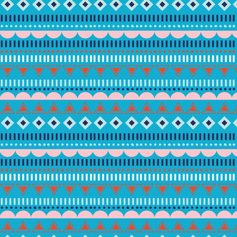 GEOSTRIPE TURQUOISE fabric by minkypnoo on Spoonflower - custom fabric