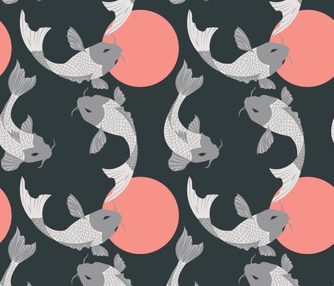 Koi fish pattern 001 fabric bluelela spoonflower for Koi fish print fabric