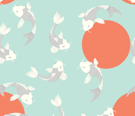 Koi fish pattern 005 giftwrap bluelela spoonflower for Fish pattern fabric