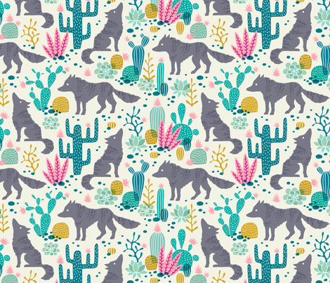 Wolf in the cactus desert turquoise/pink fabric by heleen_vd_thillart on Spoonflower - custom fabric