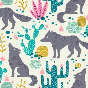 Wolf in the cactus desert turquoise/pink