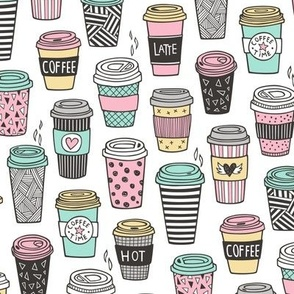 Coffee Latte Geometric Patterned Black & White Pink Mint Yellow on White