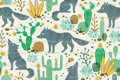 Wolf in the cactus desert green/brown