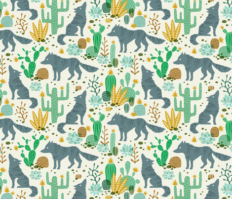Wolf in the cactus desert green/brown fabric by heleen_vd_thillart on Spoonflower - custom fabric