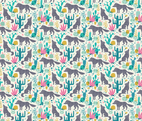 Wolf in the cactus desert turquoise/pink (small) fabric by heleen_vd_thillart on Spoonflower - custom fabric